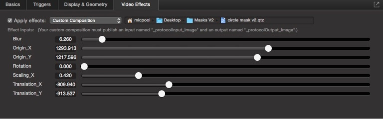 video effect controls